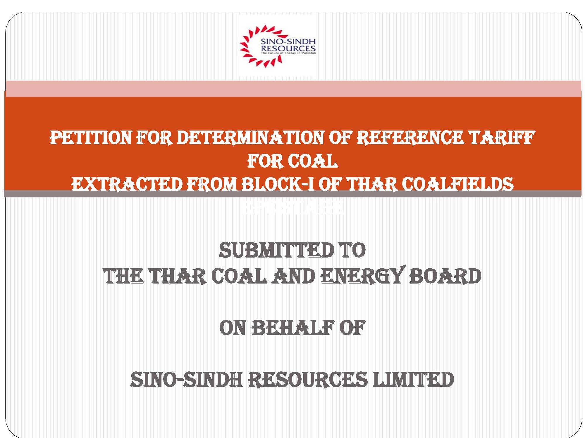 Presentation on Petition for Determination of Reference Tariff for Coal